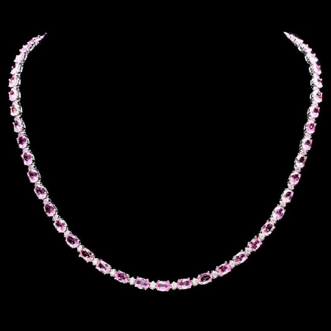 14k Gold 25ct Sapphire 1.20ct Diamond Necklace