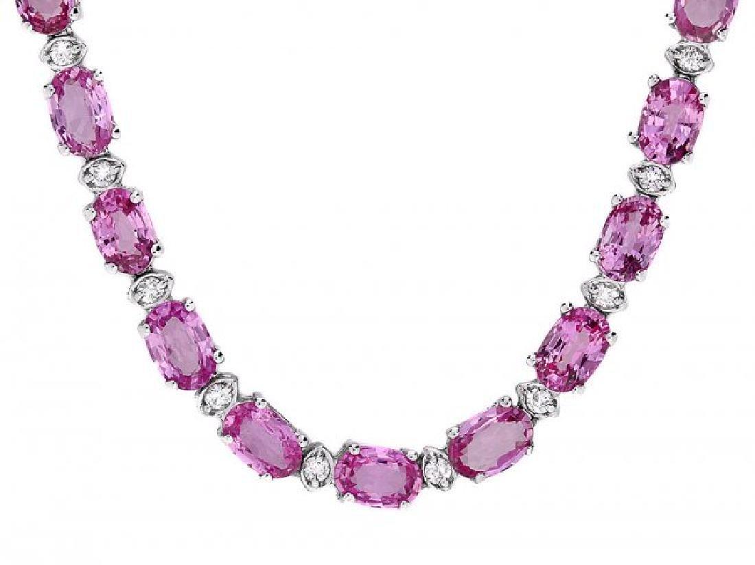 14k Gold 25ct Sapphire 1.20ct Diamond Necklace - 2