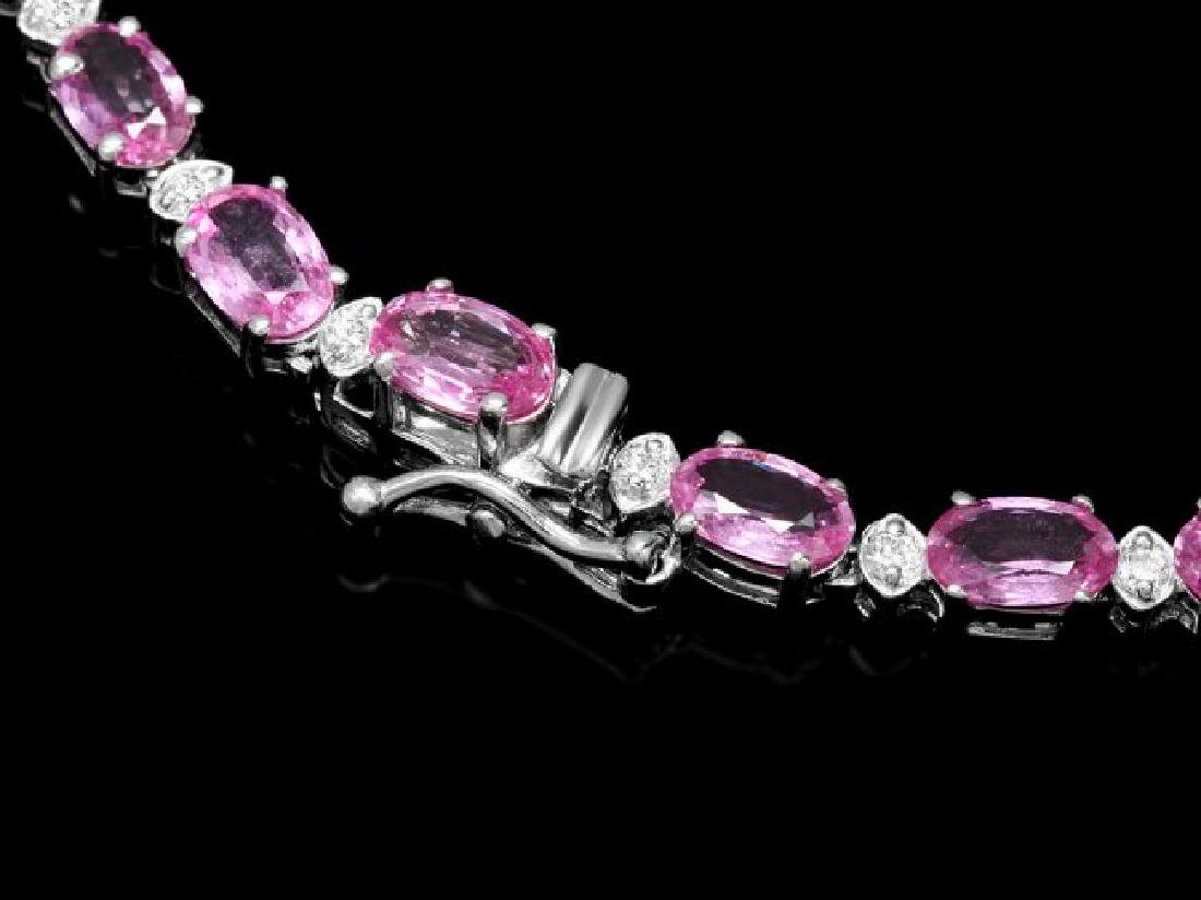 14k Gold 25ct Sapphire 1.20ct Diamond Necklace - 3