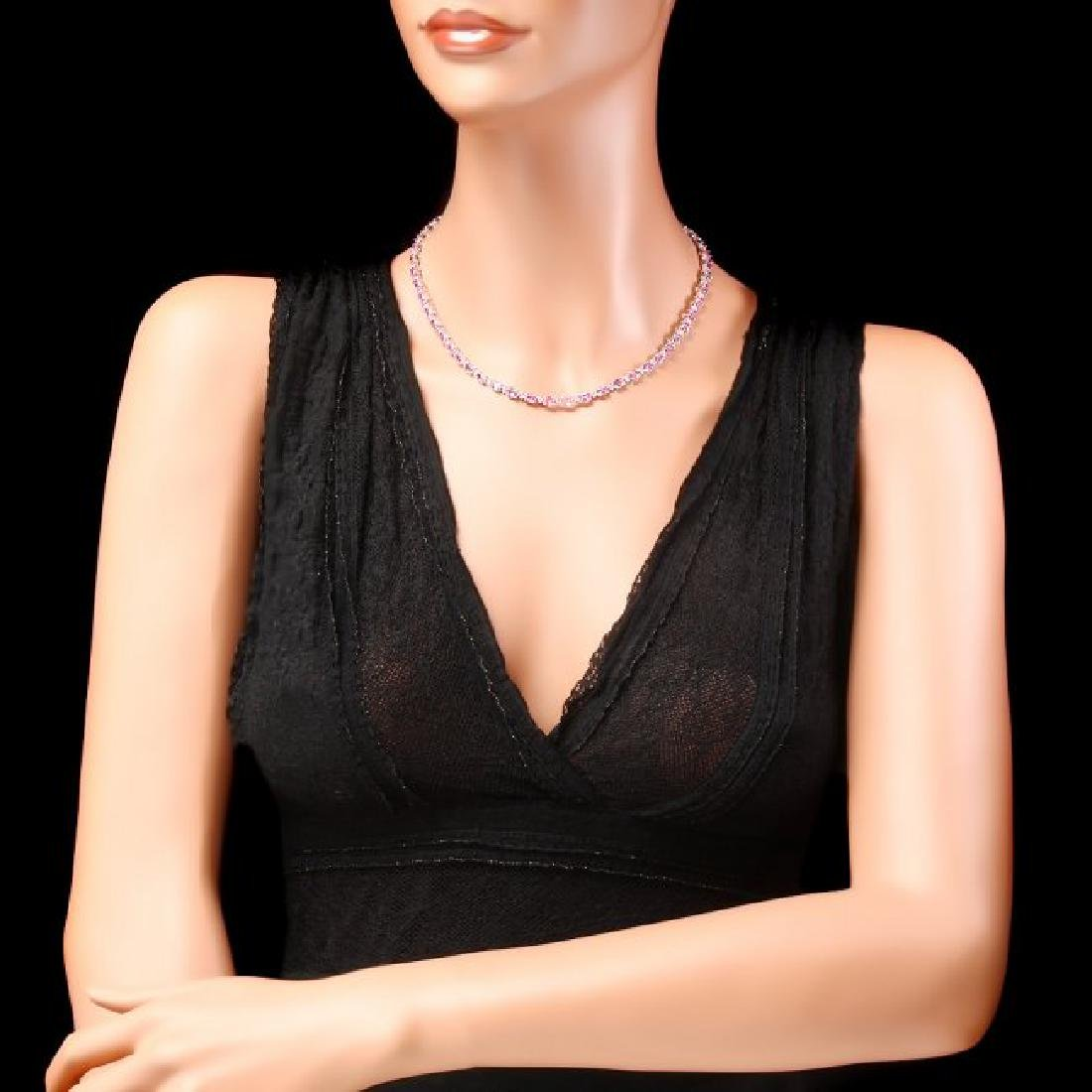 14k Gold 25ct Sapphire 1.20ct Diamond Necklace - 4