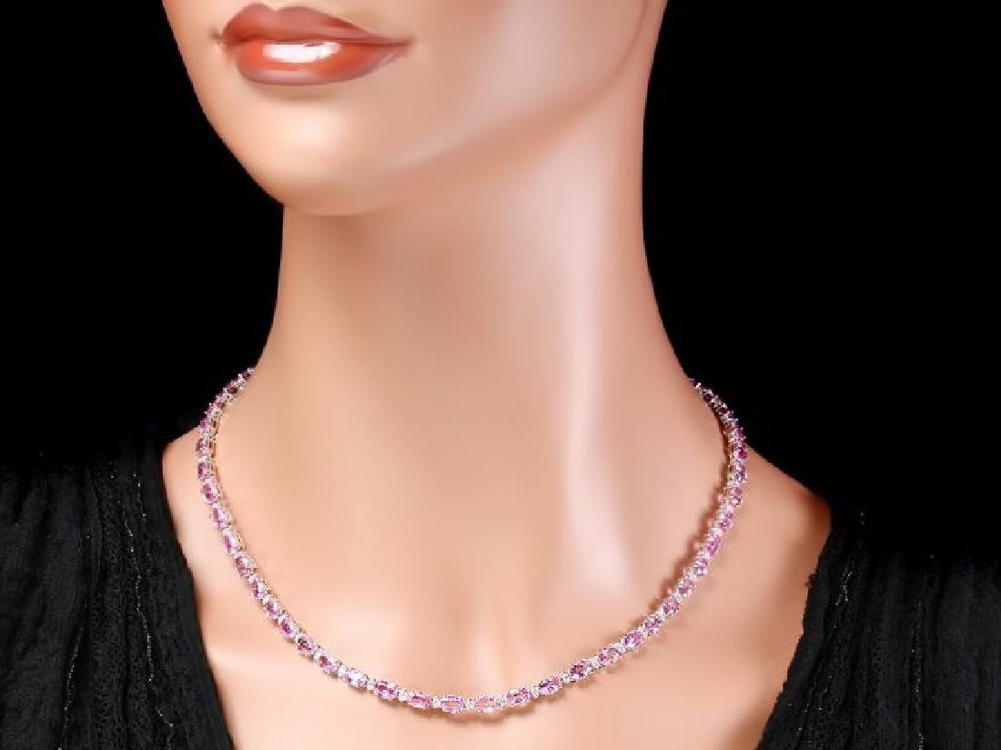 14k Gold 25ct Sapphire 1.20ct Diamond Necklace - 5