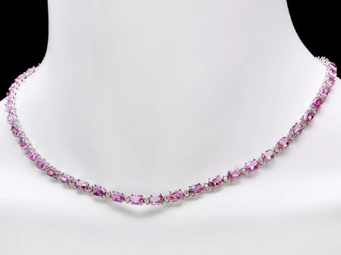 14k Gold 25ct Sapphire 1.20ct Diamond Necklace - 6