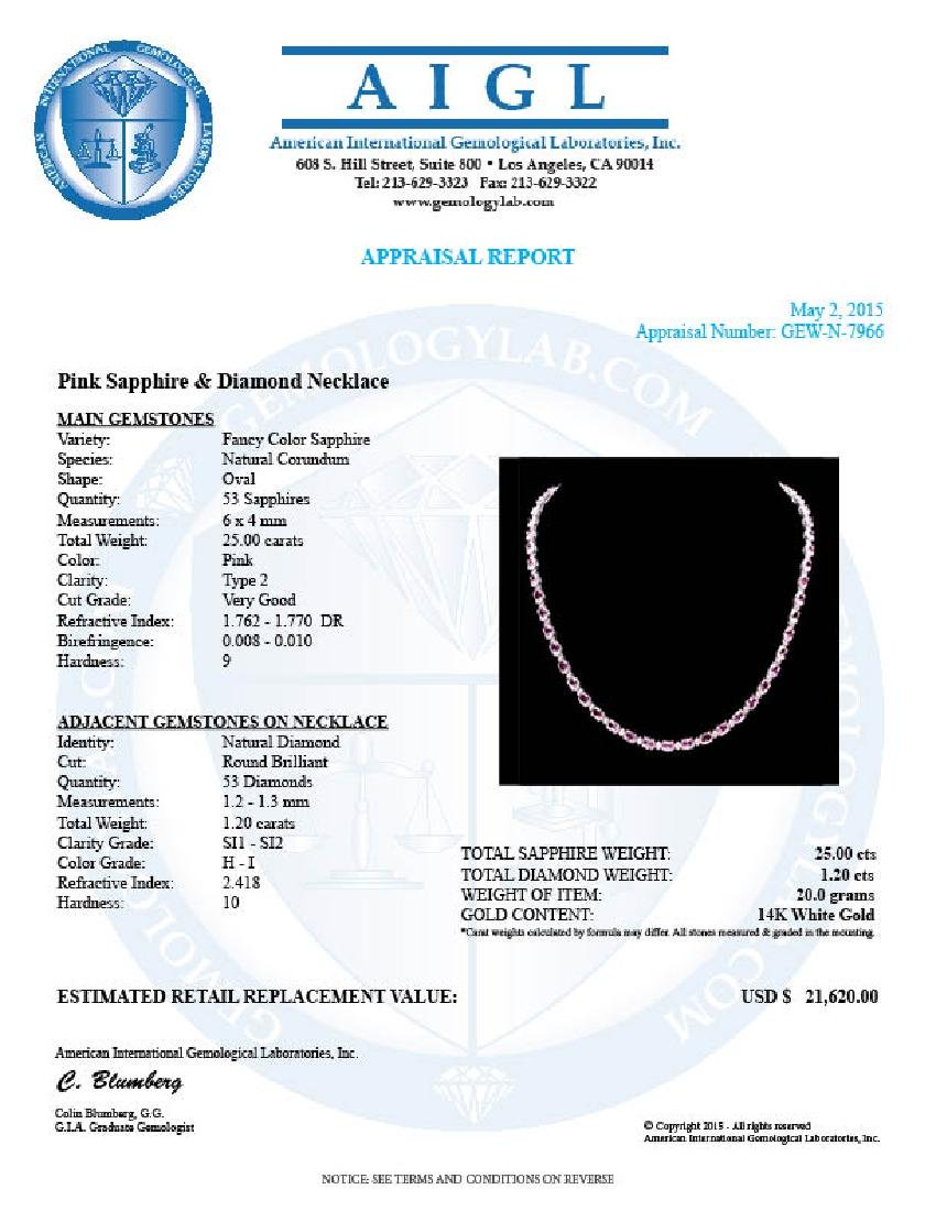 14k Gold 25ct Sapphire 1.20ct Diamond Necklace - 7