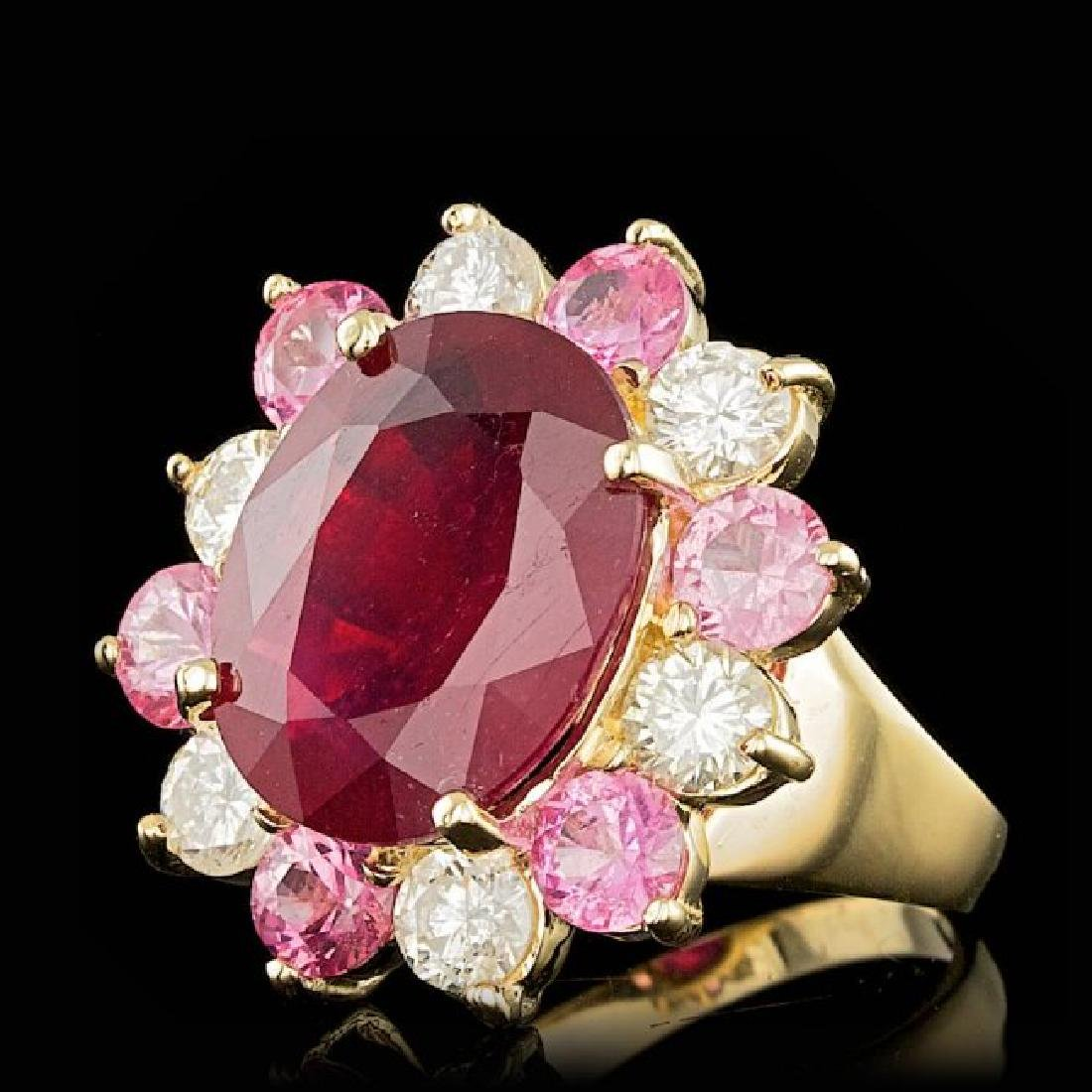 14k Yellow Gold 7.00ct Ruby 1.30ct Diamond Ring - 2