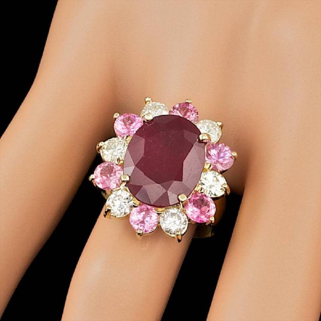 14k Yellow Gold 7.00ct Ruby 1.30ct Diamond Ring - 3