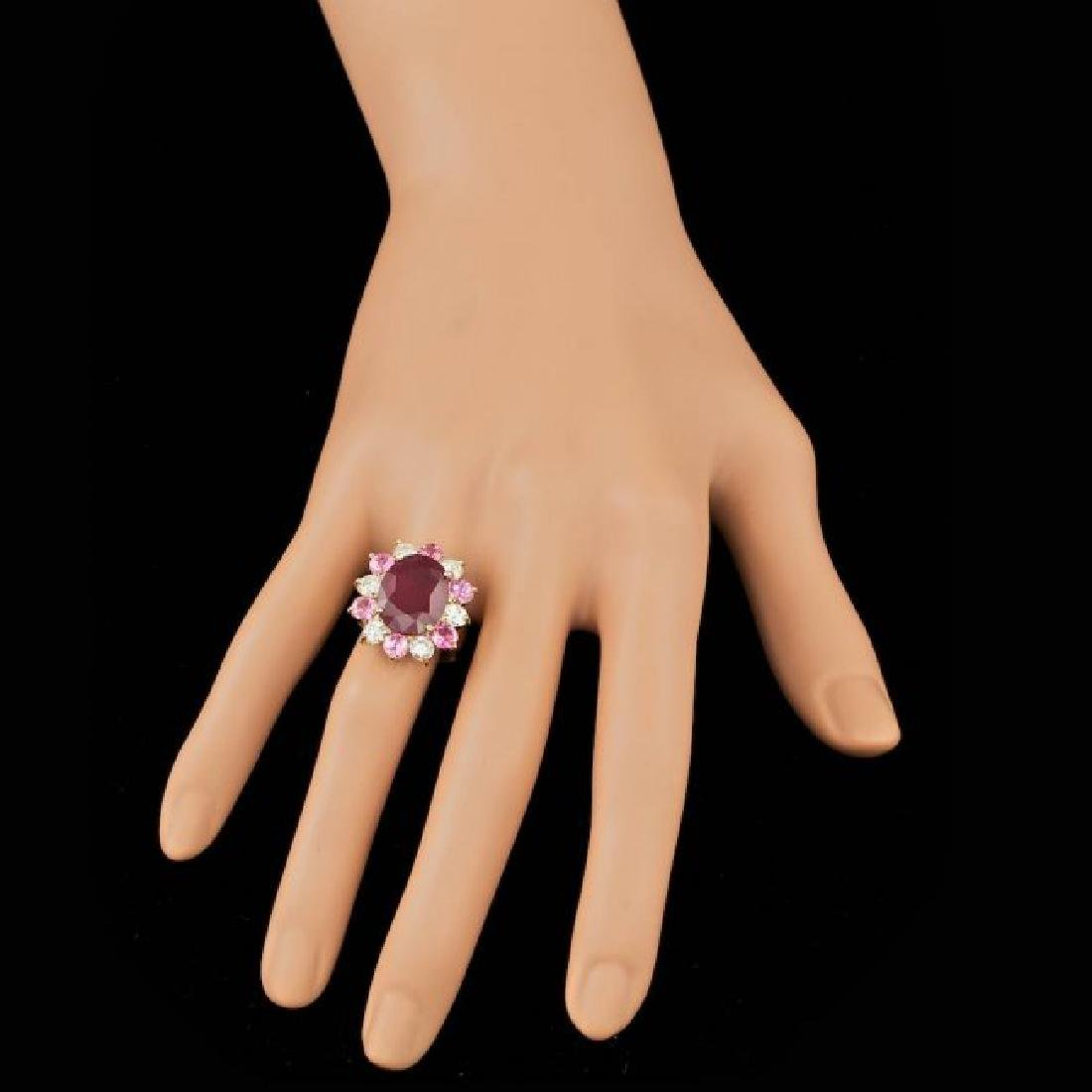 14k Yellow Gold 7.00ct Ruby 1.30ct Diamond Ring - 4