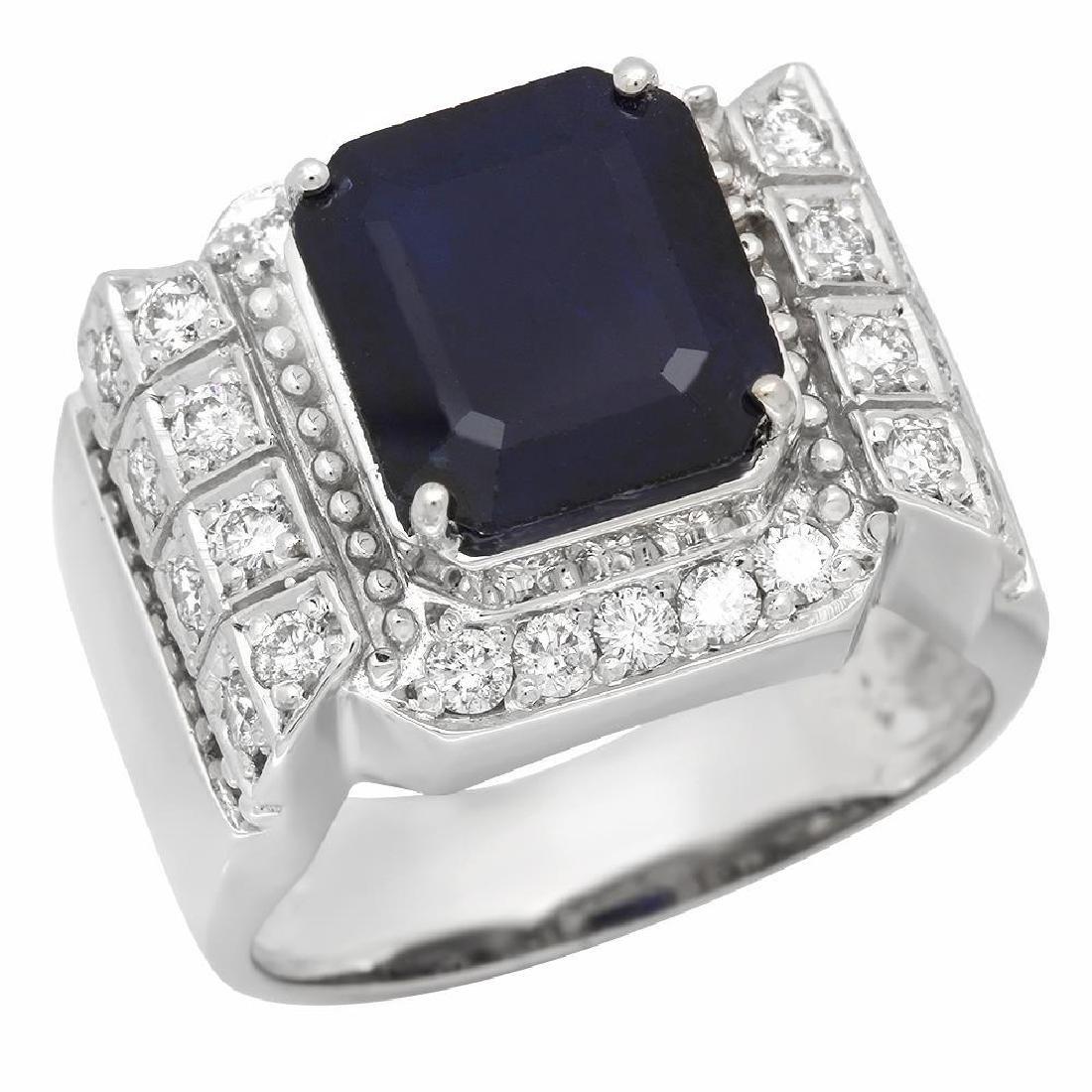 14K Gold 5.53ct Sapphire 1.06ct Diamond Ring