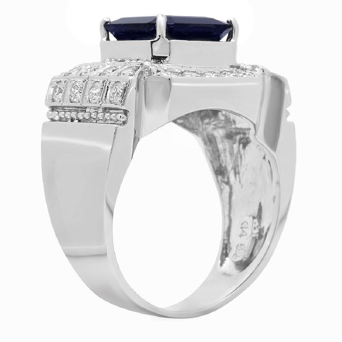 14K Gold 5.53ct Sapphire 1.06ct Diamond Ring - 2