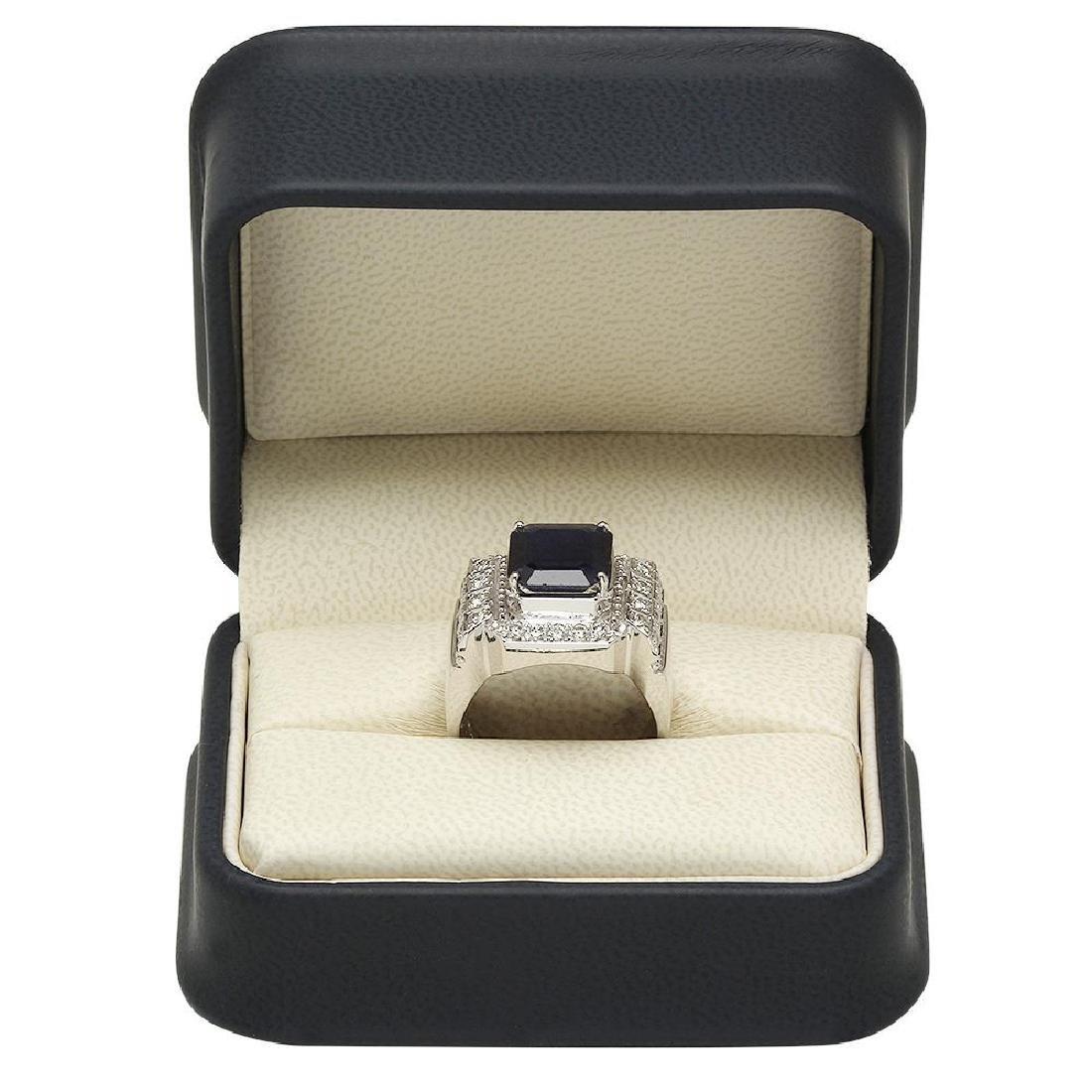 14K Gold 5.53ct Sapphire 1.06ct Diamond Ring - 4