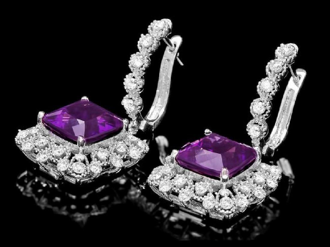 14k Gold 10.00ct Amethyst 2.00ct Diamond Earrings - 2