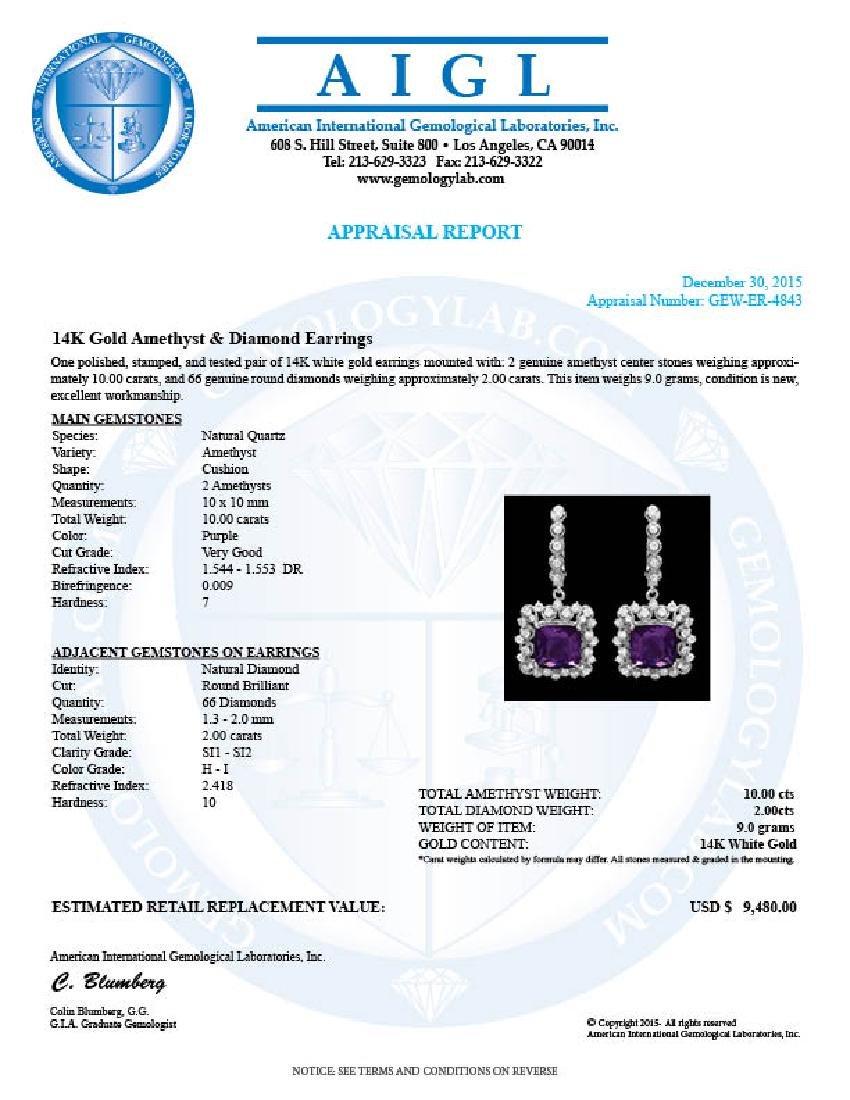 14k Gold 10.00ct Amethyst 2.00ct Diamond Earrings - 3