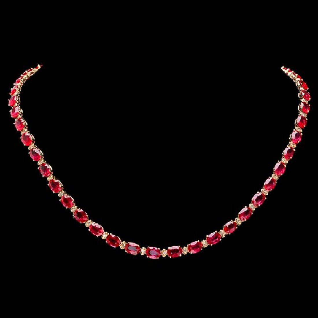 14k Gold 45.00ct Ruby 1.75ct Diamond Necklace