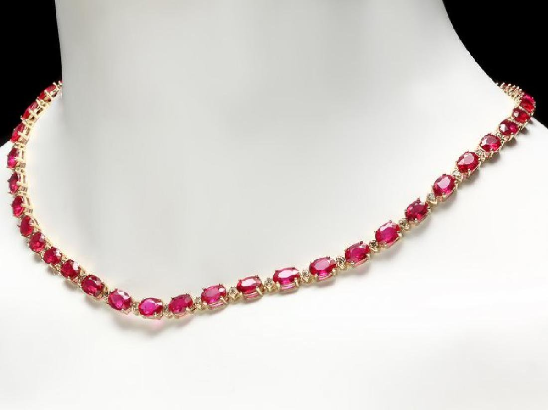 14k Gold 45.00ct Ruby 1.75ct Diamond Necklace - 2