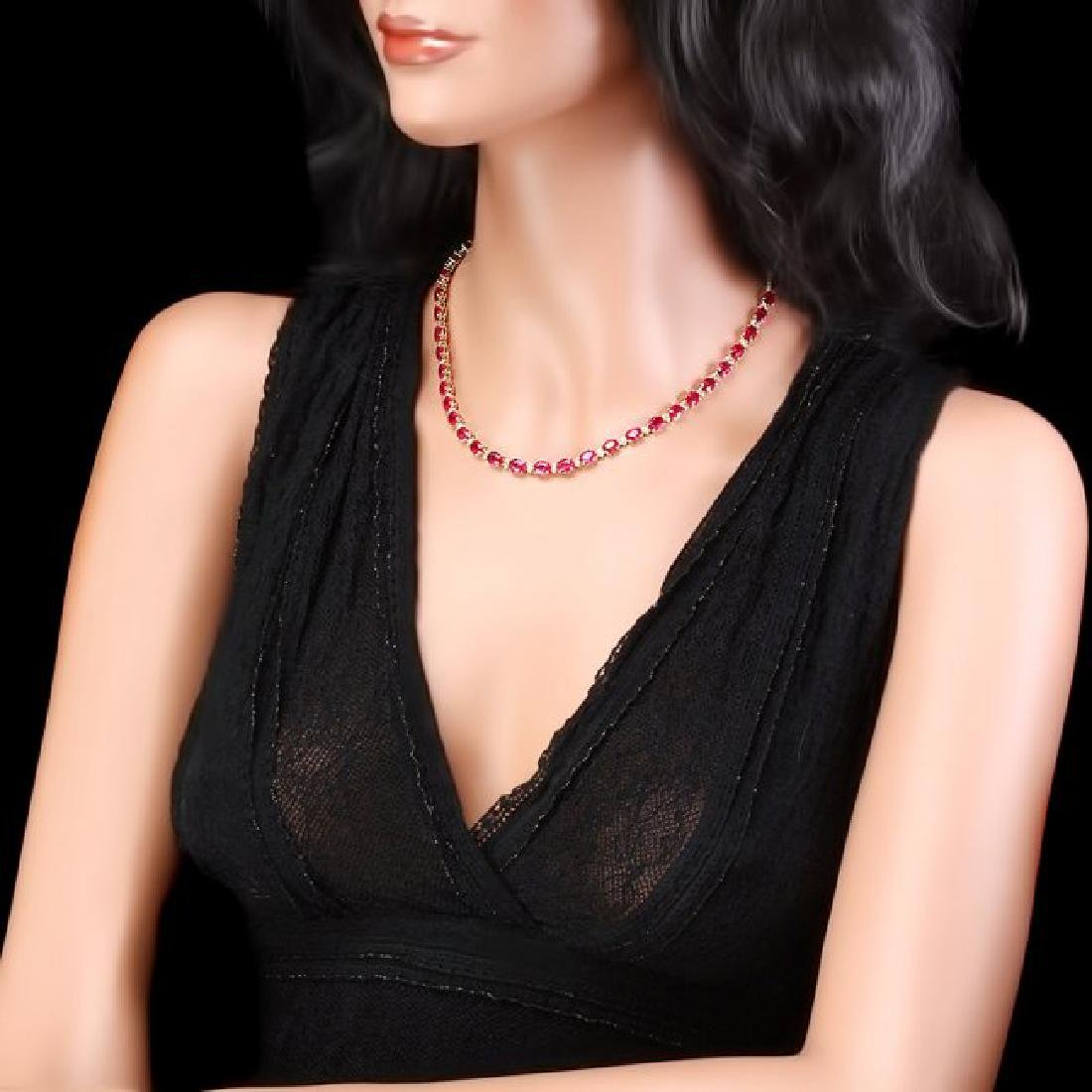 14k Gold 45.00ct Ruby 1.75ct Diamond Necklace - 4