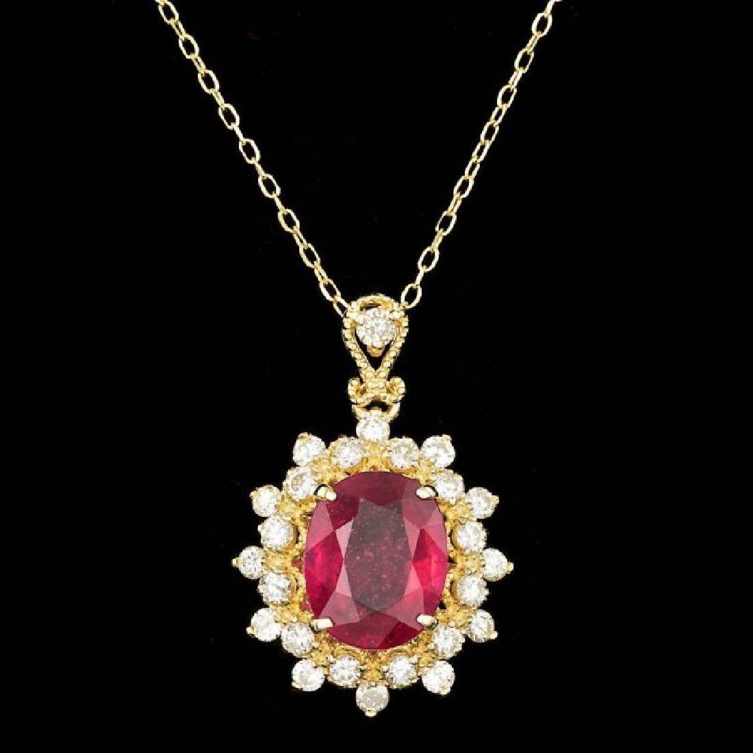 14k Gold 3.00ct Ruby 0.70ct Diamond Pendant