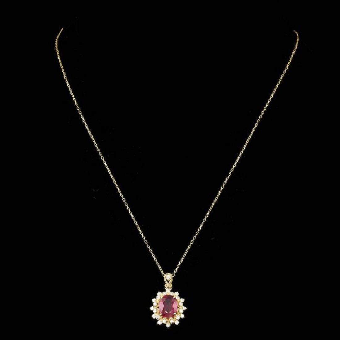 14k Gold 3.00ct Ruby 0.70ct Diamond Pendant - 2