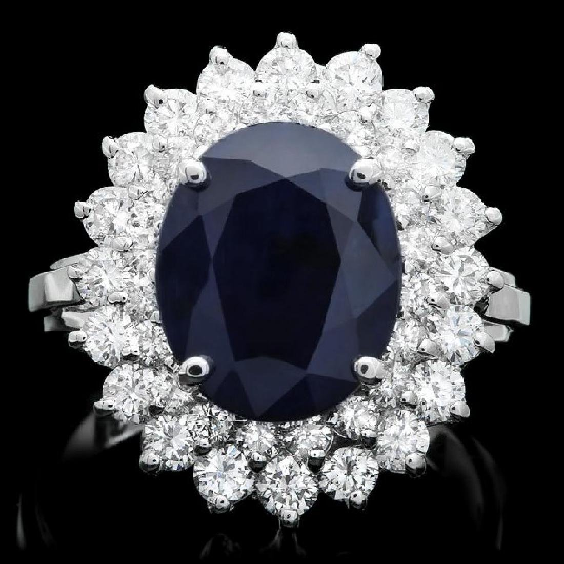 14k Gold 4.00ct Sapphire 1.65ct Diamond Ring