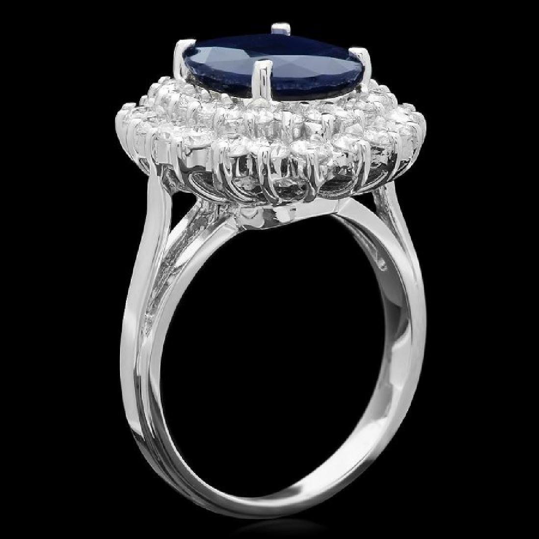 14k Gold 4.00ct Sapphire 1.65ct Diamond Ring - 2
