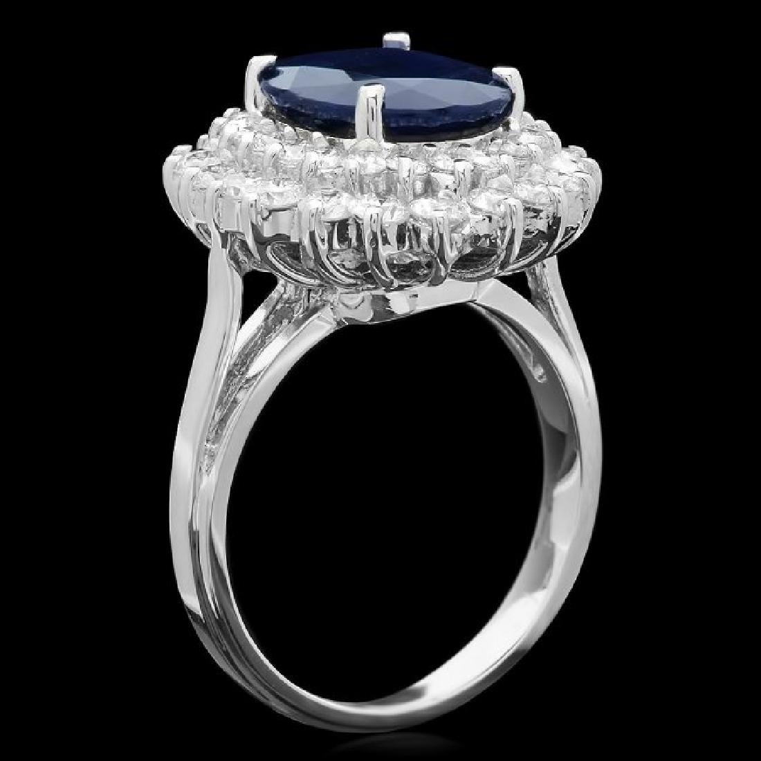 14k Gold 4.00ct Sapphire 1.65ct Diamond Ring - 2
