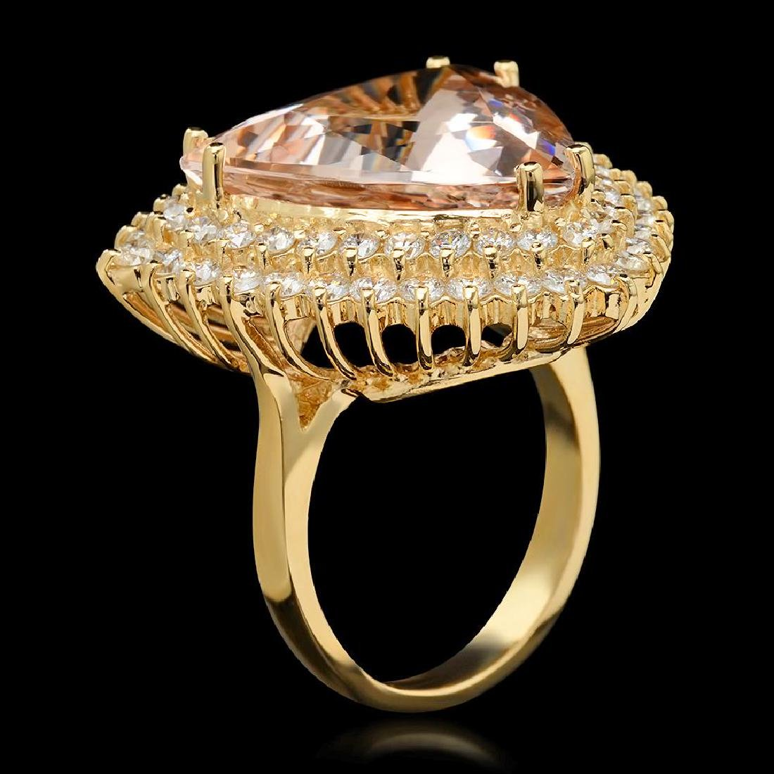 14K Gold 13.58ct Morganite 2.21ct Diamond Ring - 2