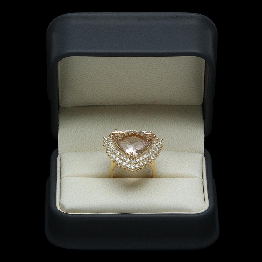 14K Gold 13.58ct Morganite 2.21ct Diamond Ring - 4
