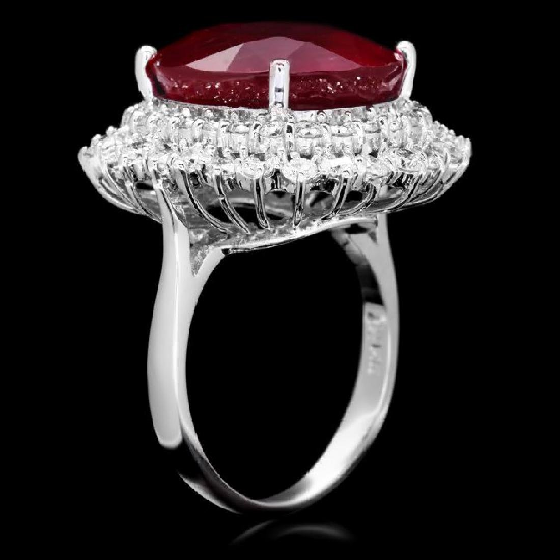 14k White Gold 18.00ct Ruby 2.00ct Diamond Ring - 3