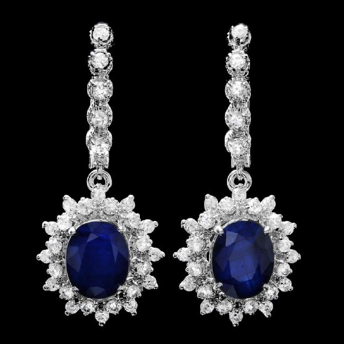 14k Gold 7.00ct Sapphire 1.80ct Diamond Earrings