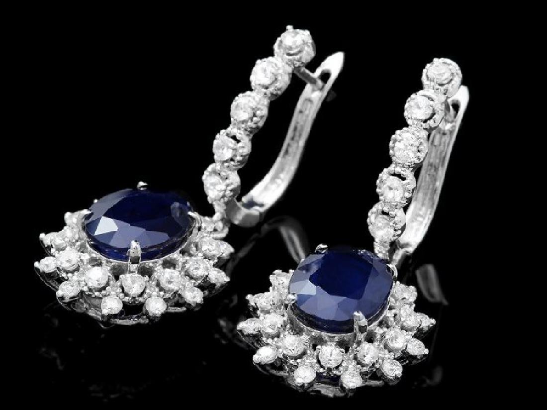 14k Gold 7.00ct Sapphire 1.80ct Diamond Earrings - 3