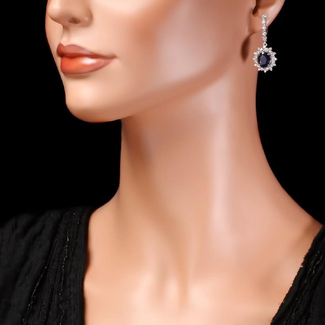 14k Gold 7.00ct Sapphire 1.80ct Diamond Earrings - 4