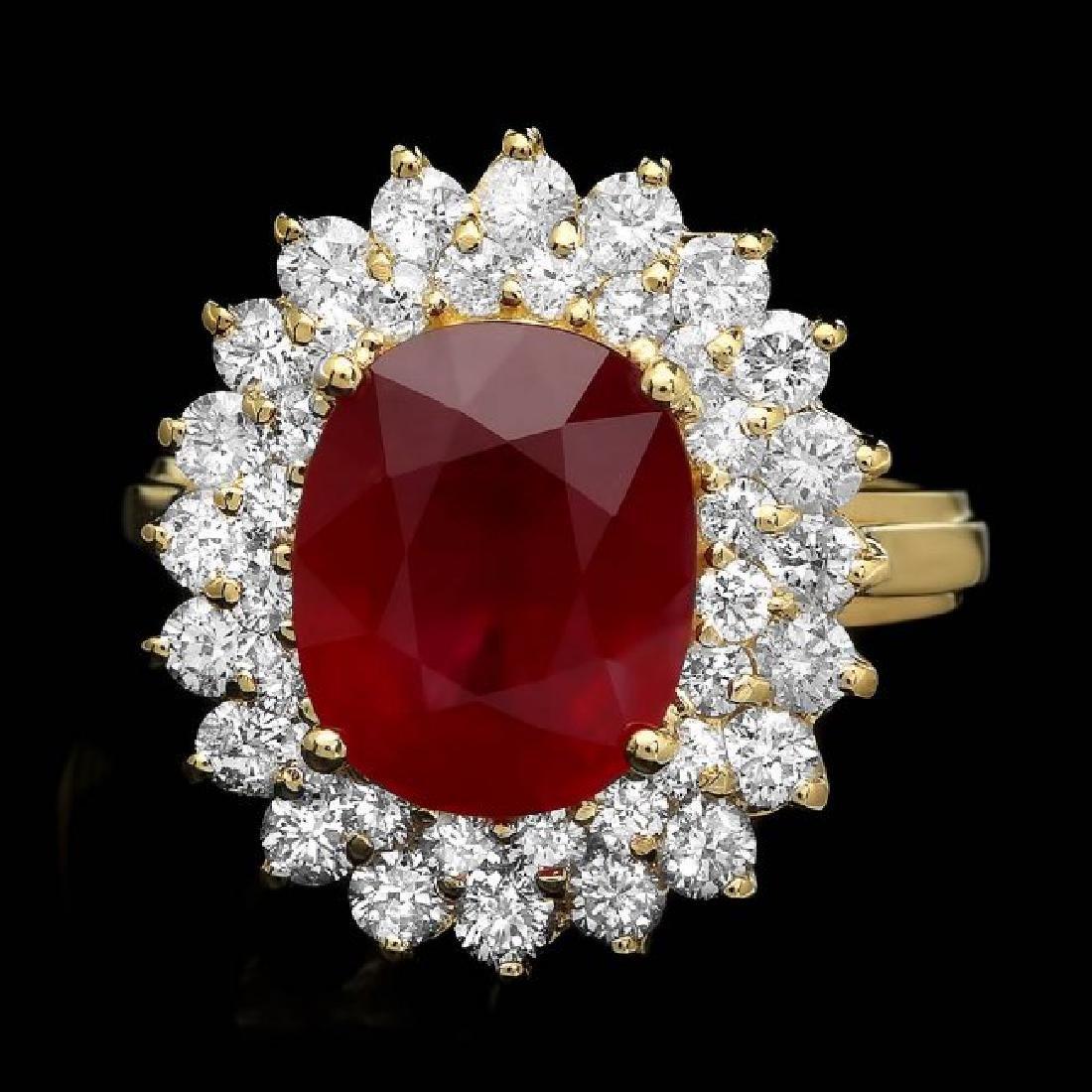 14k Yellow Gold 5.60ct Ruby 1.60ct Diamond Ring