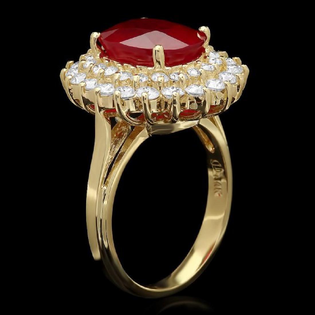 14k Yellow Gold 5.60ct Ruby 1.60ct Diamond Ring - 2
