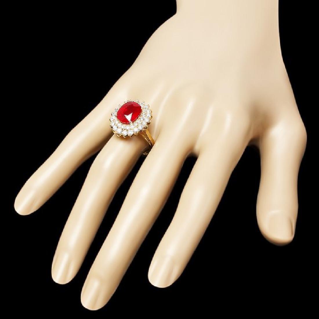 14k Yellow Gold 5.60ct Ruby 1.60ct Diamond Ring - 3