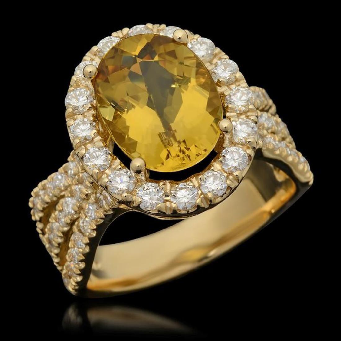 14K Gold 3.61ct Yellow Beryl & 1.54ct Diamond Ring