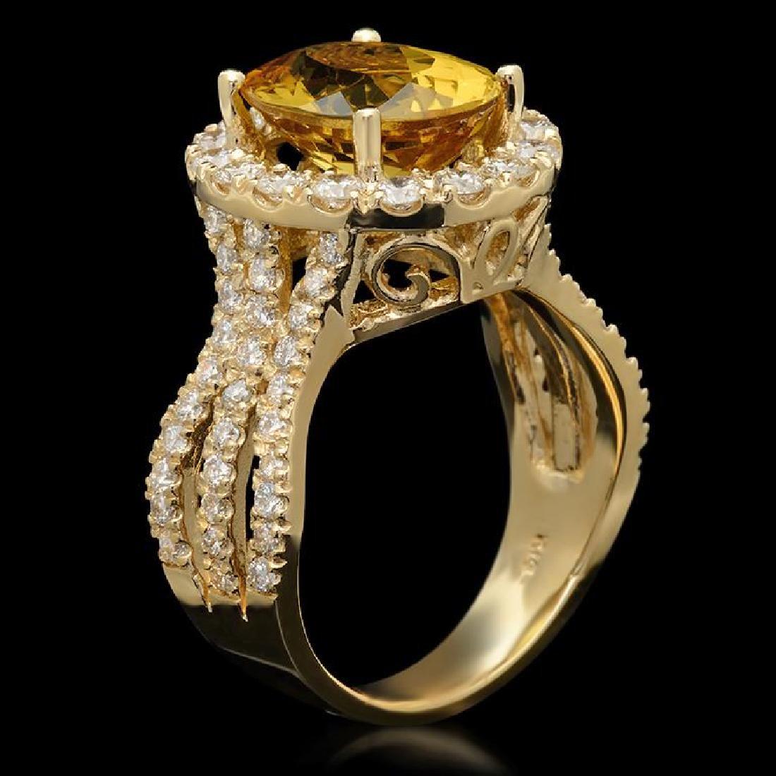 14K Gold 3.61ct Yellow Beryl & 1.54ct Diamond Ring - 2