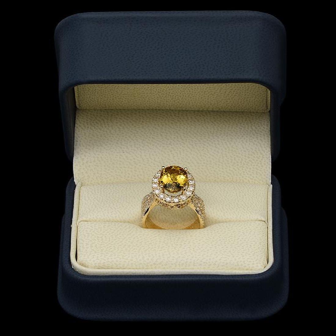 14K Gold 3.61ct Yellow Beryl & 1.54ct Diamond Ring - 3