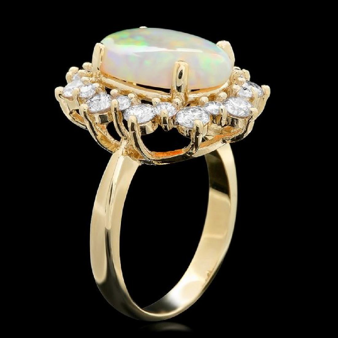 14k Yellow Gold 3.50ct Opal 1.60ct Diamond Ring - 2