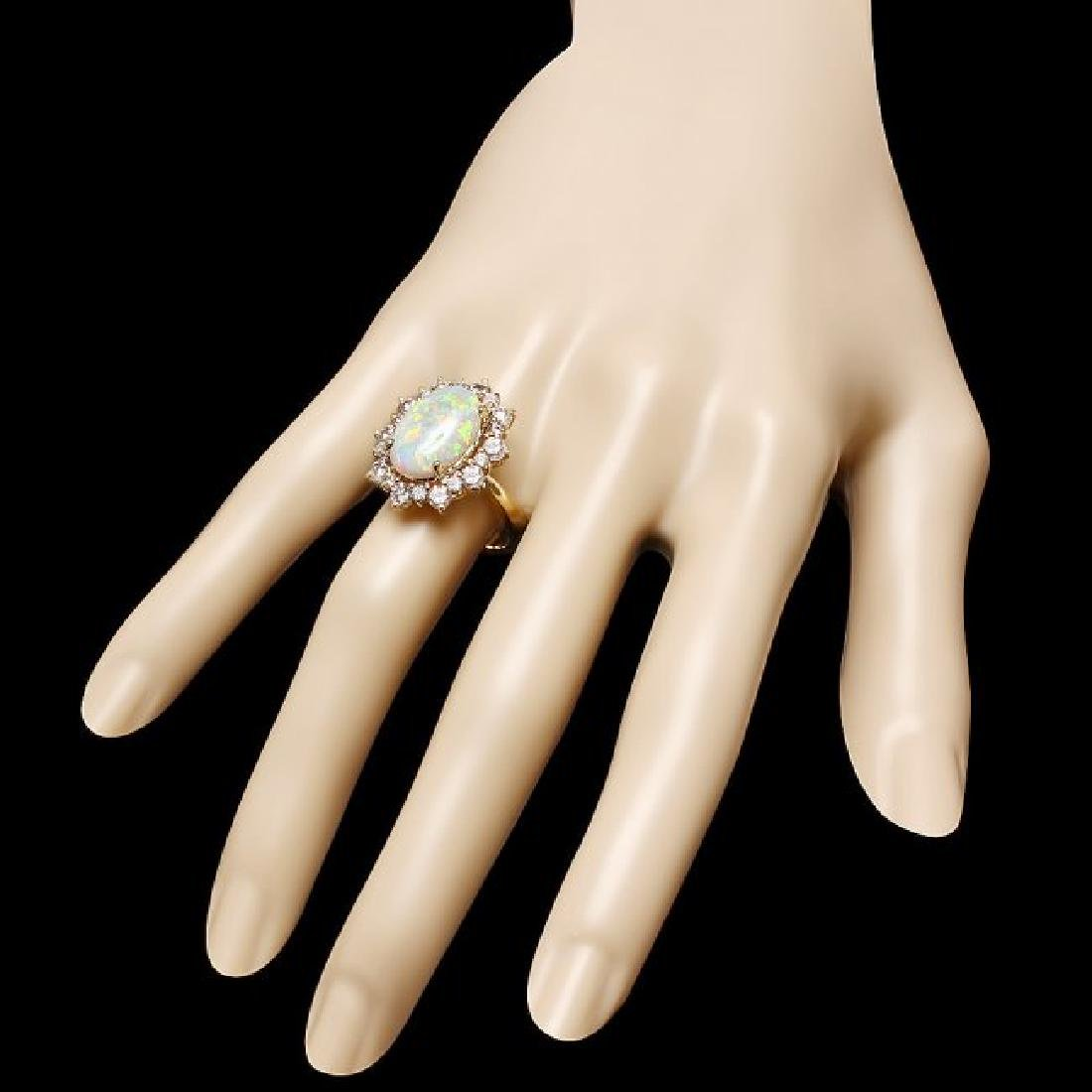 14k Yellow Gold 3.50ct Opal 1.60ct Diamond Ring - 3