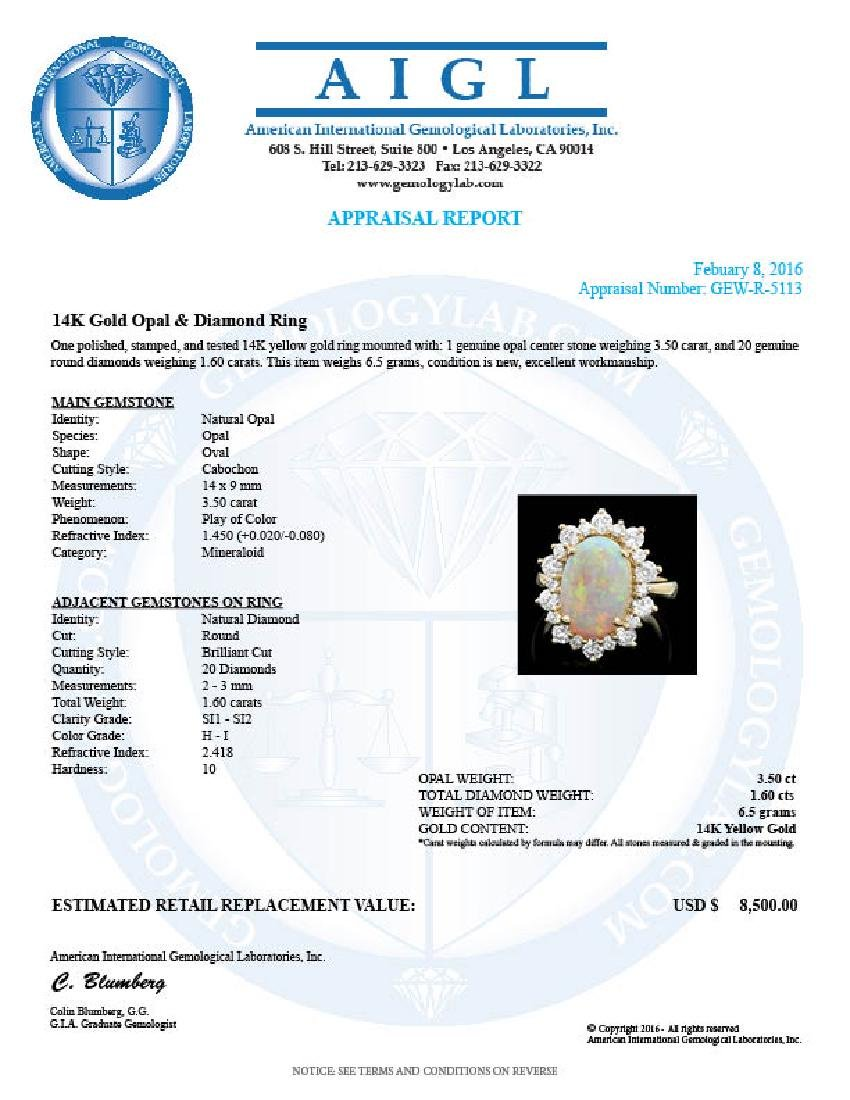 14k Yellow Gold 3.50ct Opal 1.60ct Diamond Ring - 4