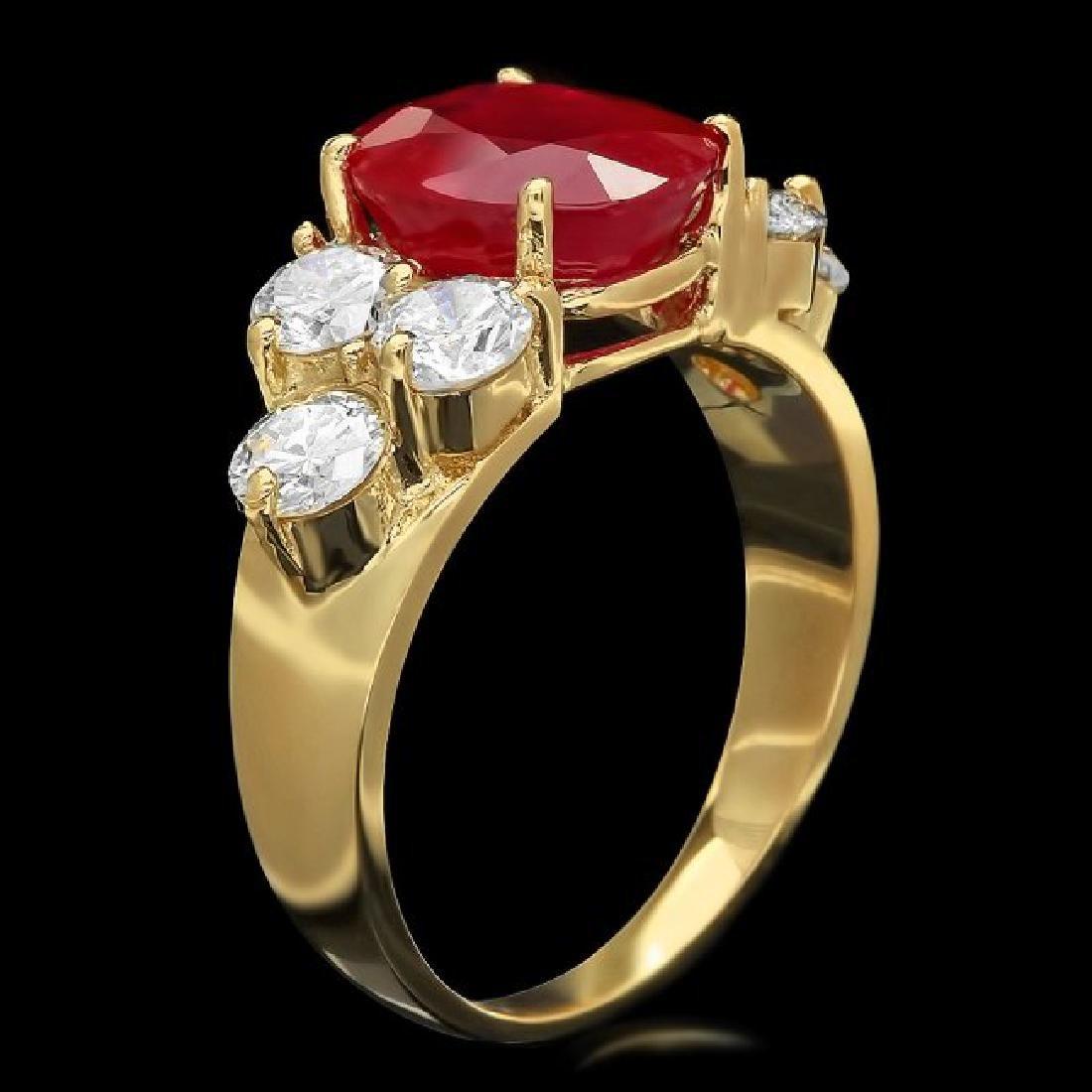 14k Yellow Gold 4.00ct Ruby 1.35ct Diamond Ring - 2