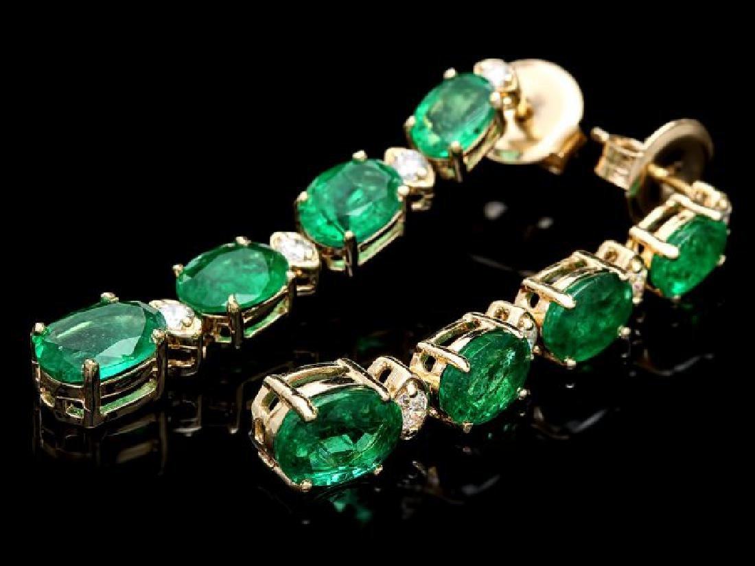 14k Gold 6.5ct Emerald .35ct Diamond Earrings - 3