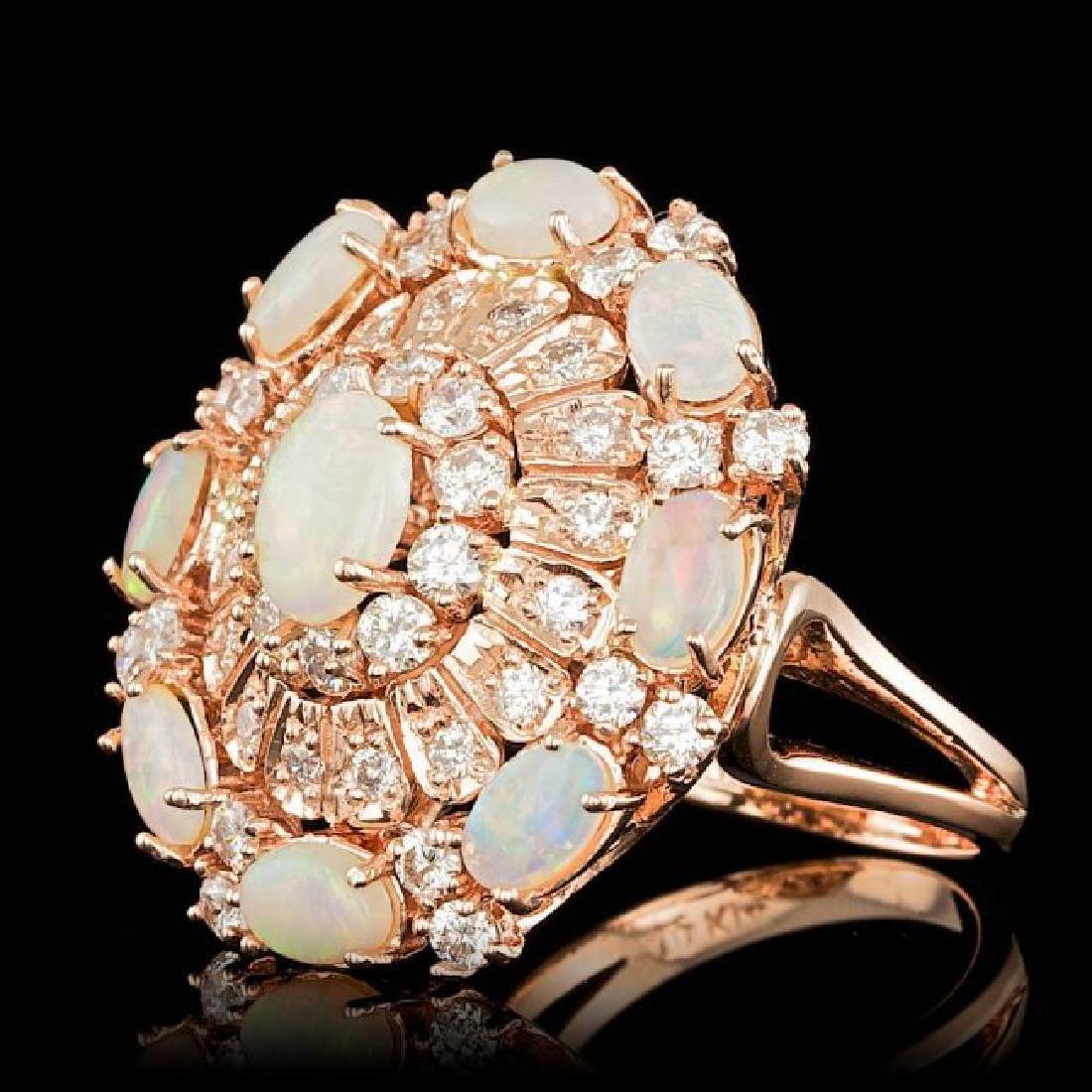 14k Rose Gold 3.00ct Opal 2.15ct Diamond Ring - 2