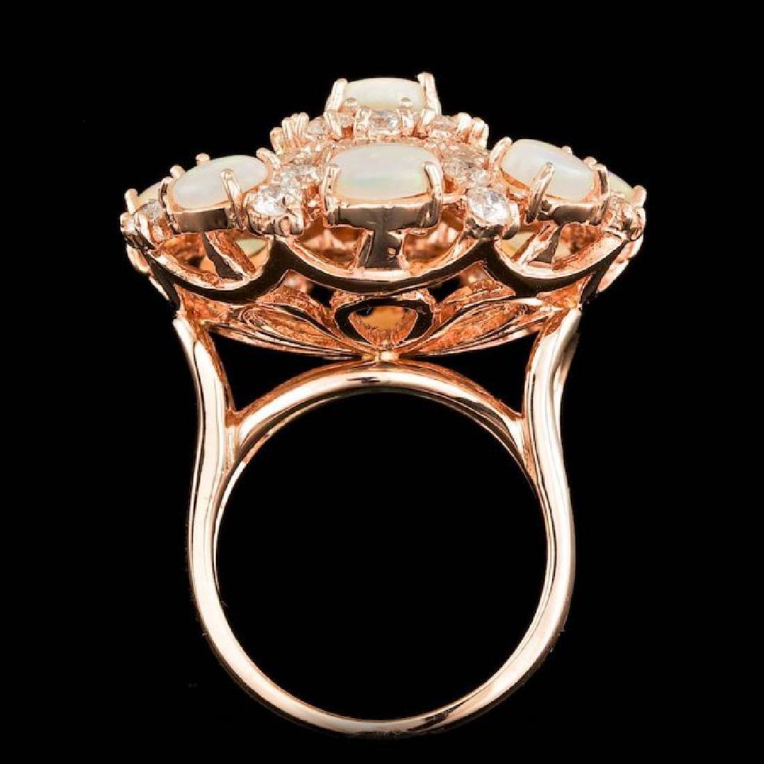 14k Rose Gold 3.00ct Opal 2.15ct Diamond Ring - 3