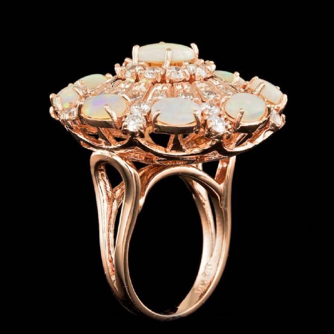 14k Rose Gold 3.00ct Opal 2.15ct Diamond Ring - 5