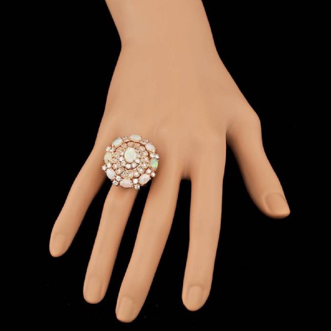 14k Rose Gold 3.00ct Opal 2.15ct Diamond Ring - 6