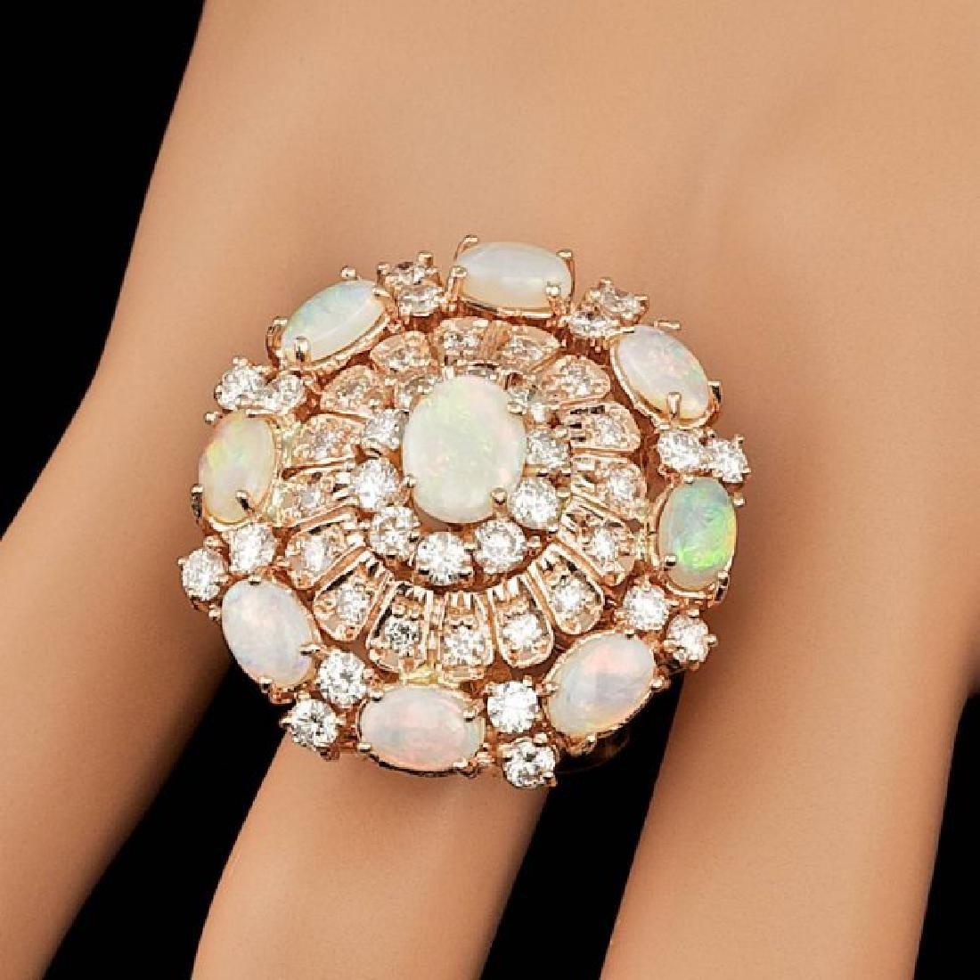 14k Rose Gold 3.00ct Opal 2.15ct Diamond Ring - 7