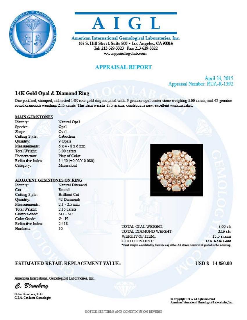 14k Rose Gold 3.00ct Opal 2.15ct Diamond Ring - 8