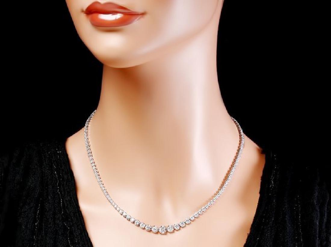 18k White Gold 6.50ct Diamond Necklace - 3