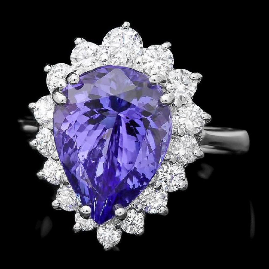 14k Gold 5.50ct Tanzanite 1.00ct Diamond Ring
