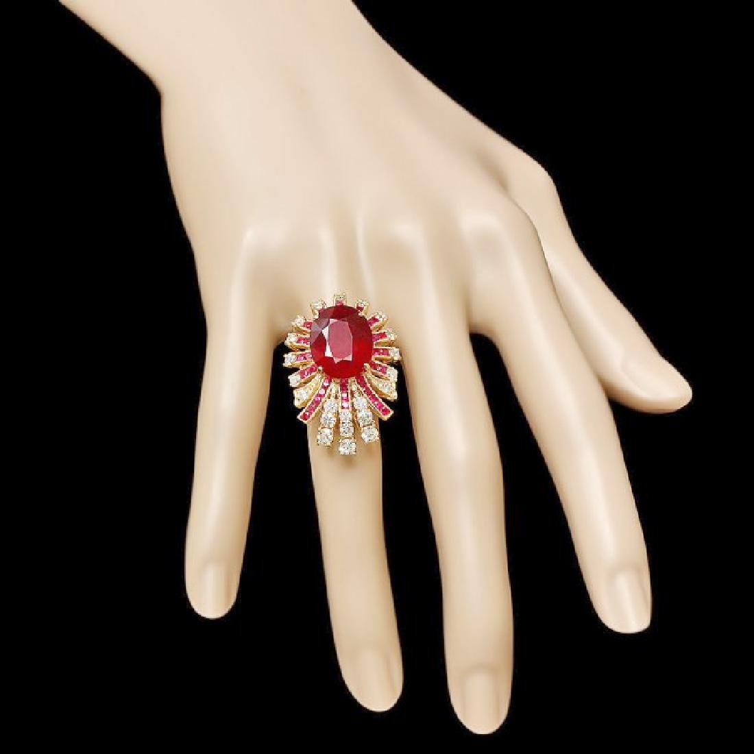 14k Yellow Gold 14ct Ruby 1.85ct Diamond Ring - 3