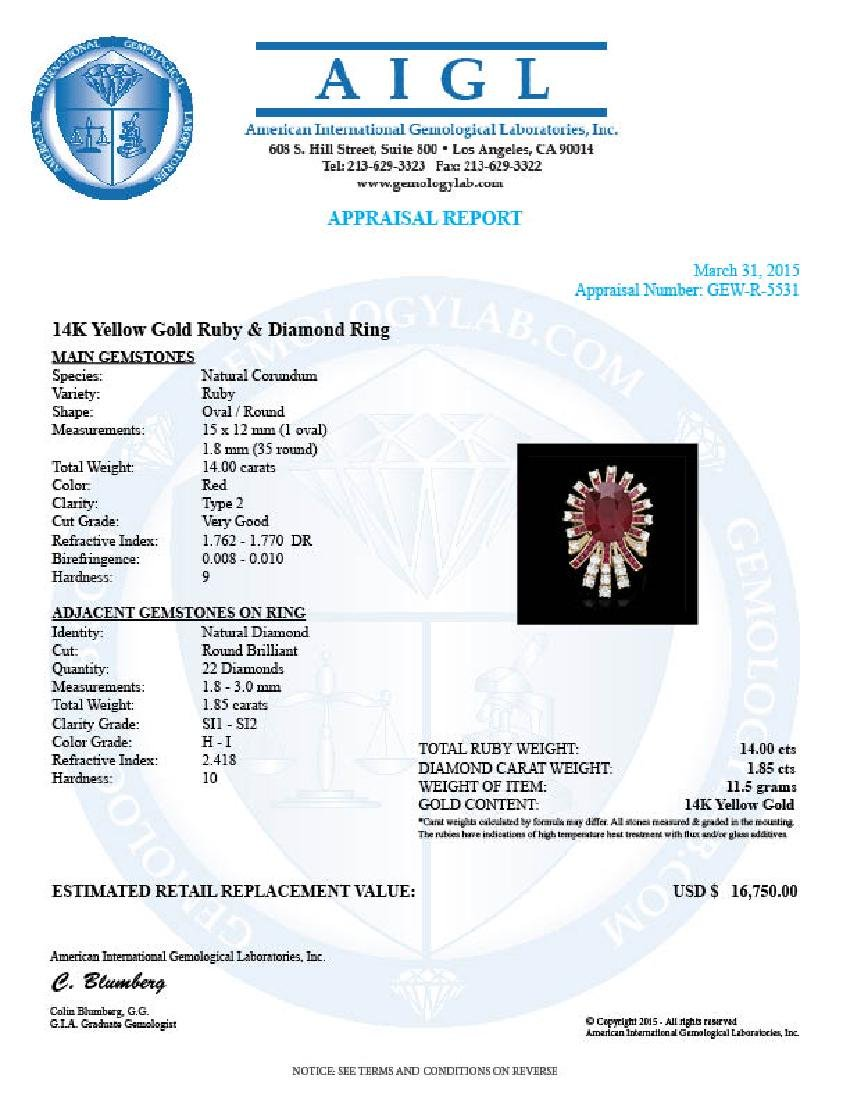 14k Yellow Gold 14ct Ruby 1.85ct Diamond Ring - 4